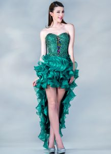 Teal High Low Prom Dress
