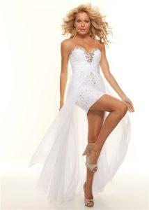White Chiffon High Low Dress