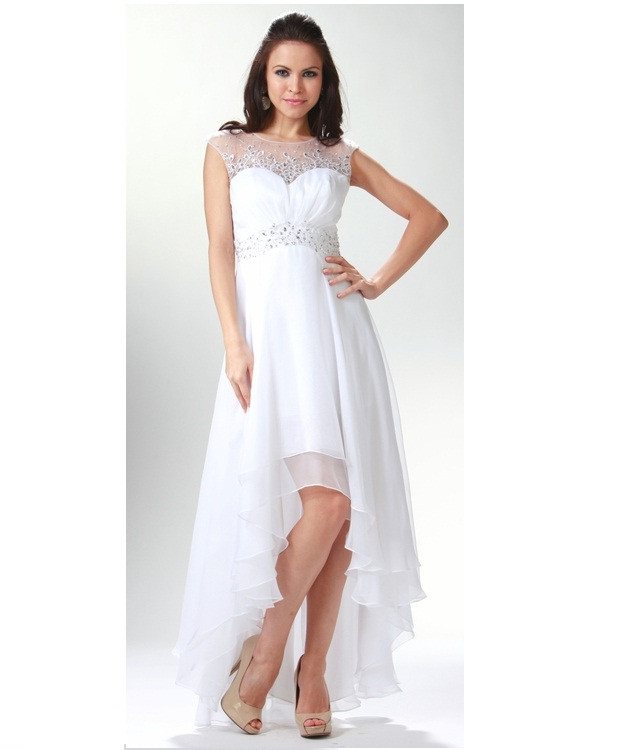 6b5dfd722ee429 White High Low Chiffon Dress – Fashion dresses