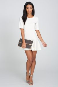 White Drop Waist Dress with Sleeve