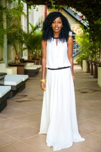 White Drop Waist Maxi Dress