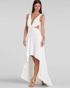 White High Low Maxi Dress