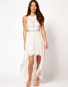White High Low Maxi Dress