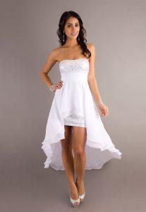 White Strapless High Low Dress