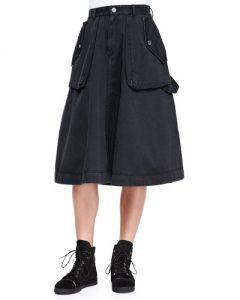 Black Cargo Skirt