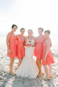 Coral Beach Bridesmaid Dresses