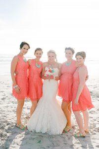 Coral Beach Bridesmaid Dresses