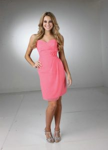 Coral Chiffon Bridesmaid Dress