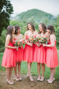 Coral Short Bridesmaid Dresses