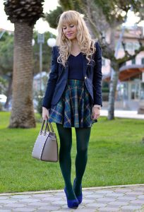Green Plaid Skirt Outfit