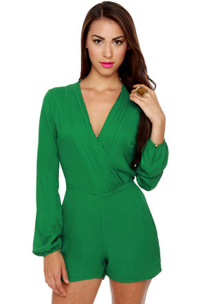 Green Rompers Dressed Up Girl