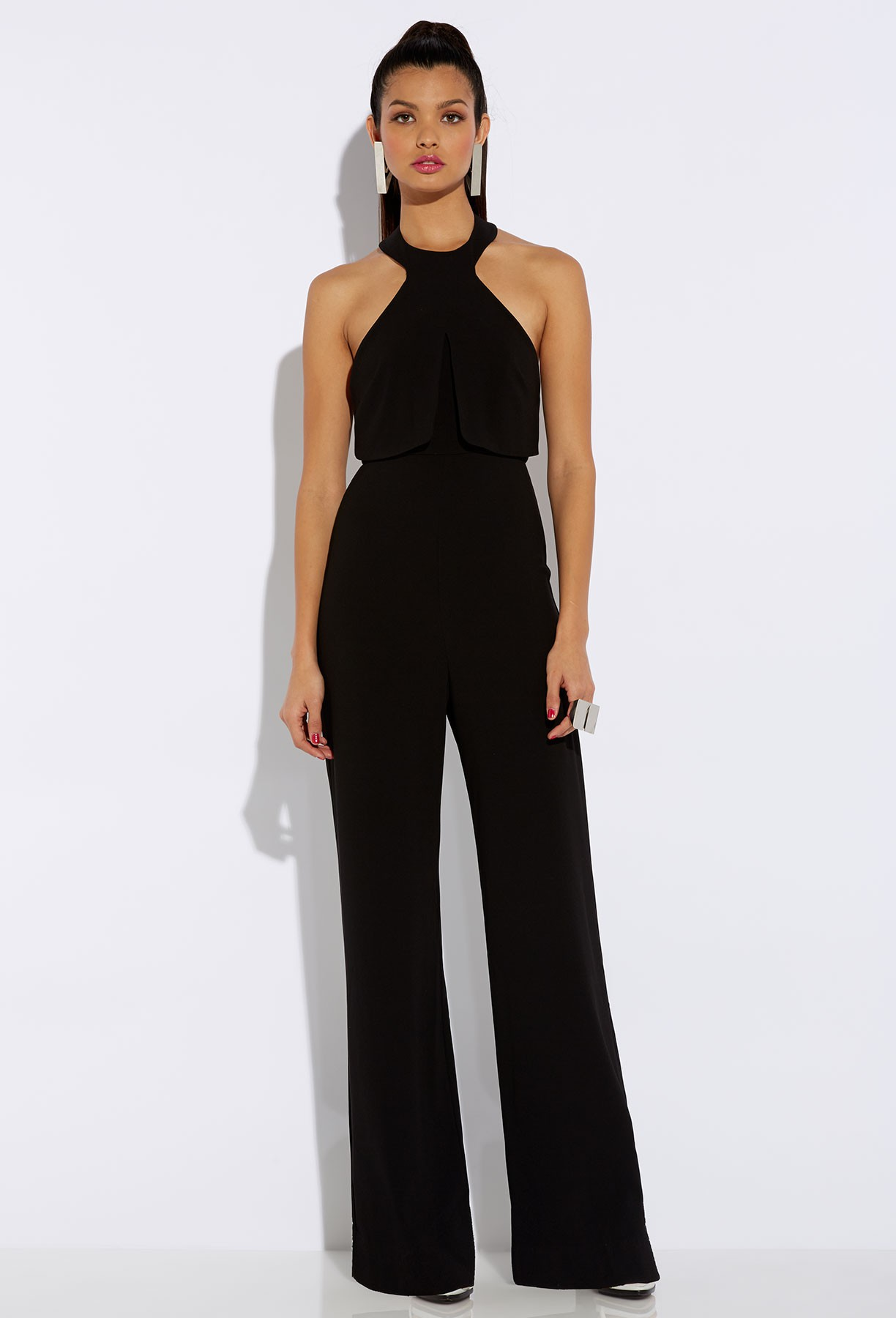 Product Details. You can never go wrong with a black jumpsuit. The gold detail and halter neck make it super sleek and chic. Worth adding to your wish list.
