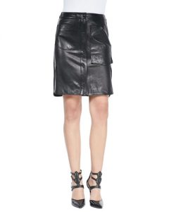 Leather Cargo Skirt