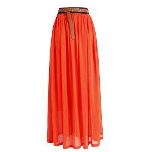 Long Pleated Chiffon Maxi Skirt