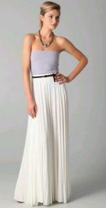 Long Pleated White Skirt
