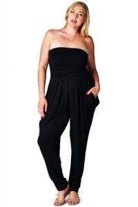 Plus Size Black Strapless Jumpsuit