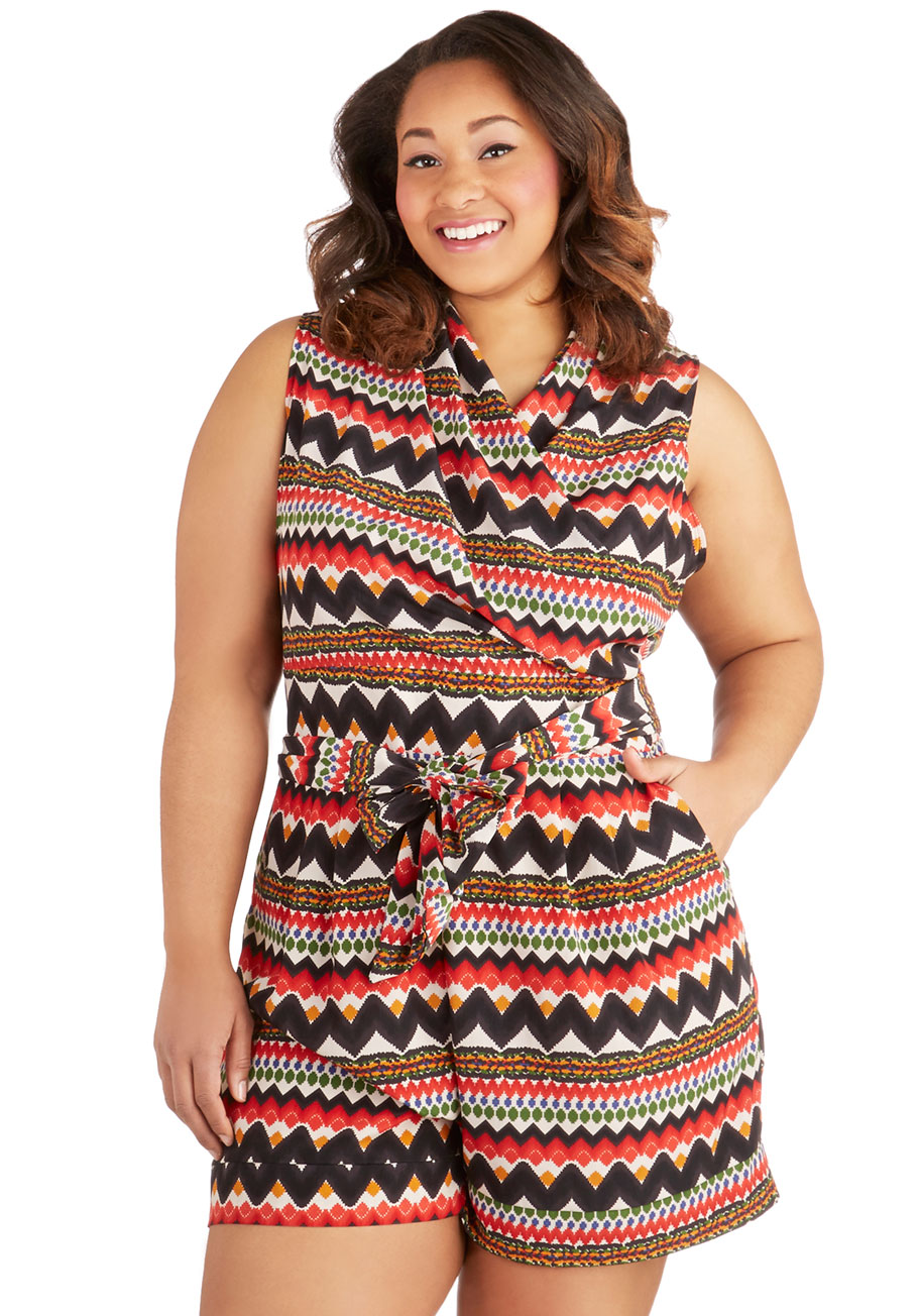 Plus Size Rompers and Jumpsuits are great because they are only one piece of clothing. You won't be wasting time deciding which top or bottom you will wear and what will look good together. Just pick a Plus Size Romper or Jumpsuit, and you are pretty much ready to go!