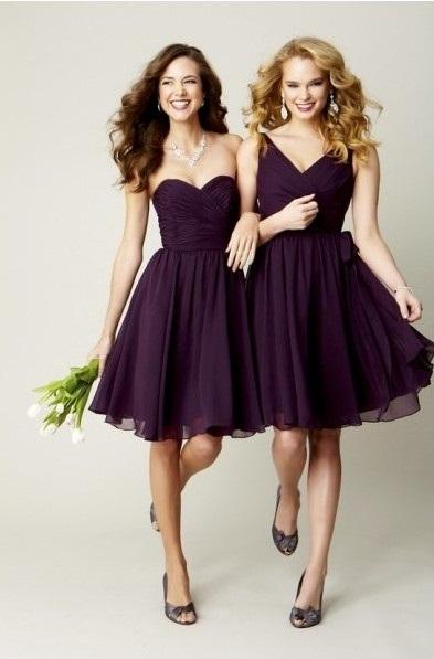 Purple Lace Bridesmaid Dress