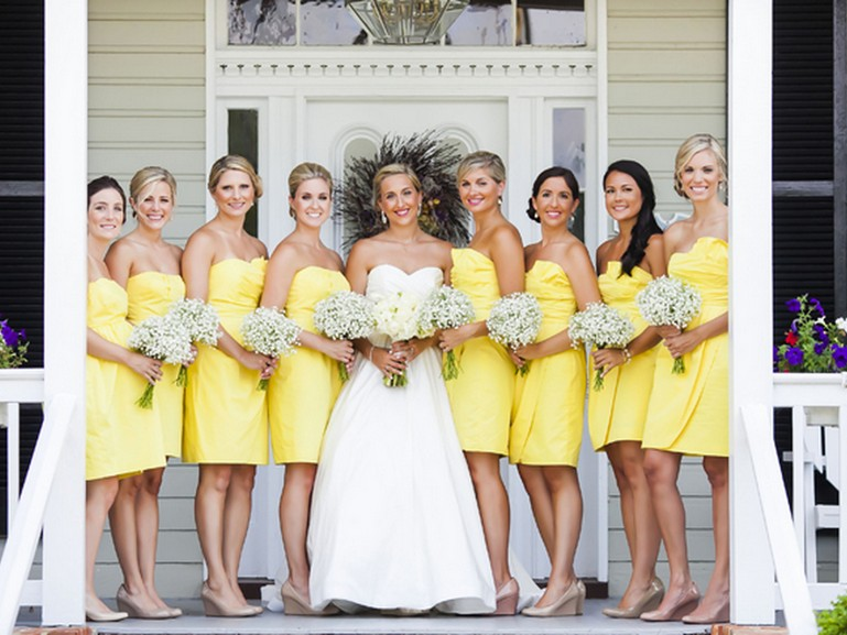 Collection Yellow Bridesmaid Dresses Short Pictures - Weddings Pro