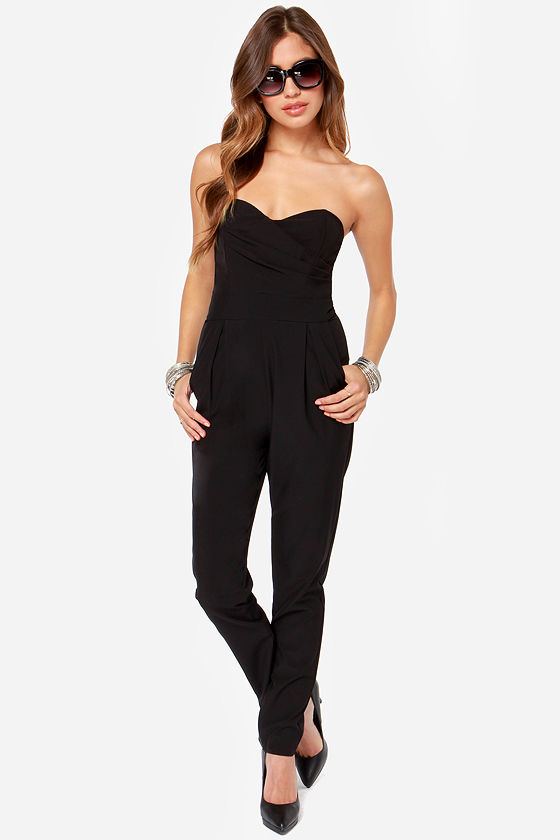 Strapless Jumpsuit. Dare to wear a strapless jumpsuit for incredible fashion flair. Start with the long length and wide leg of a pants jumpsuit. Black assuredly looks sophisticated, but never basic.