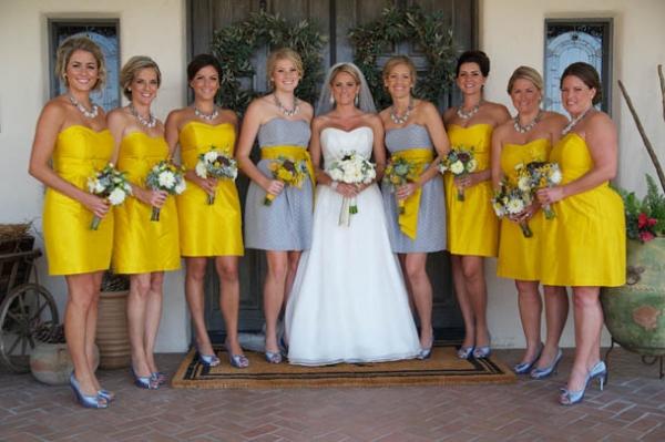 Grey and Yellow Wedding Bridesmaid Dresses_Bridesmaid ...