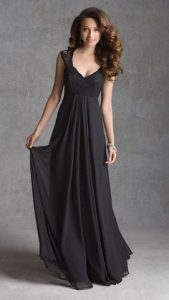 Black Chiffon Bridesmaid Dress