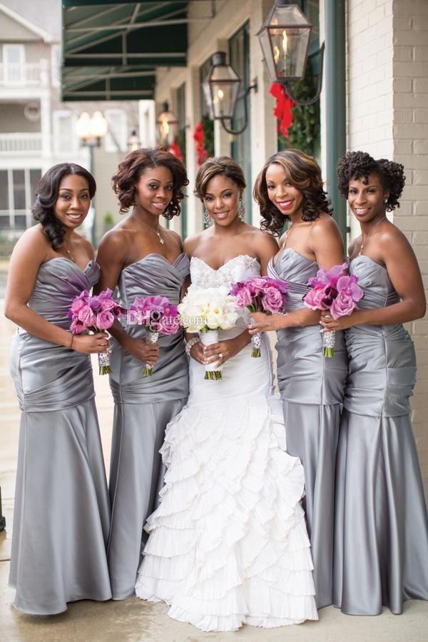 Silver bridesmaid dresses dressed up girl for Black and grey wedding dress