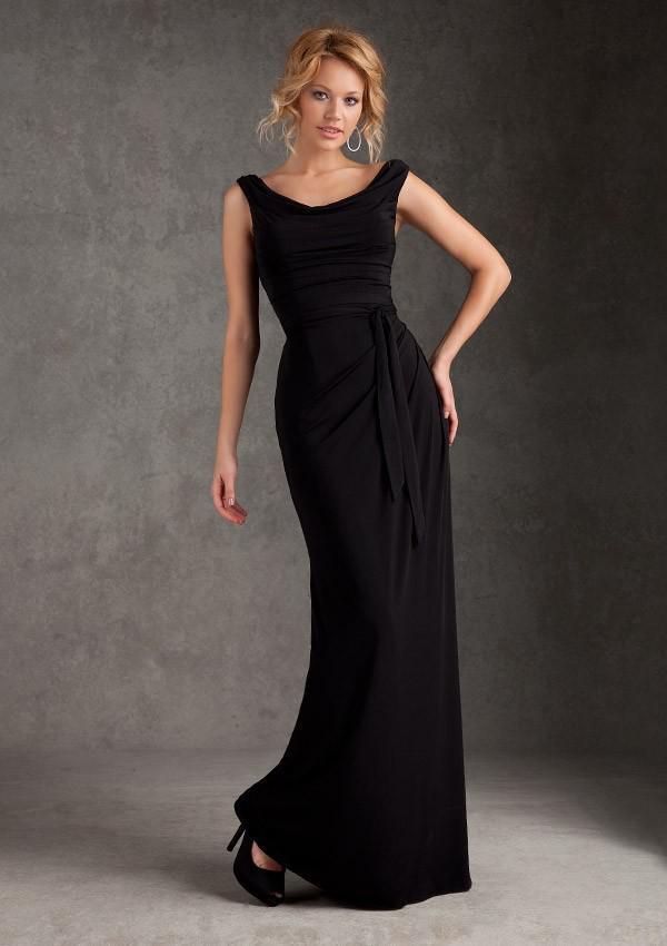 Chiffon Knee Length Black Bridesmaid Dresses