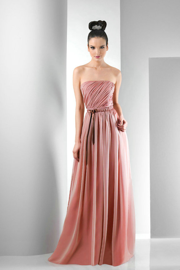 91b6da9ce0 Tulle Chantilly Plain Peach Long Bridesmaid Gowns. Long Bridesmaid Dresses  Dressed Up