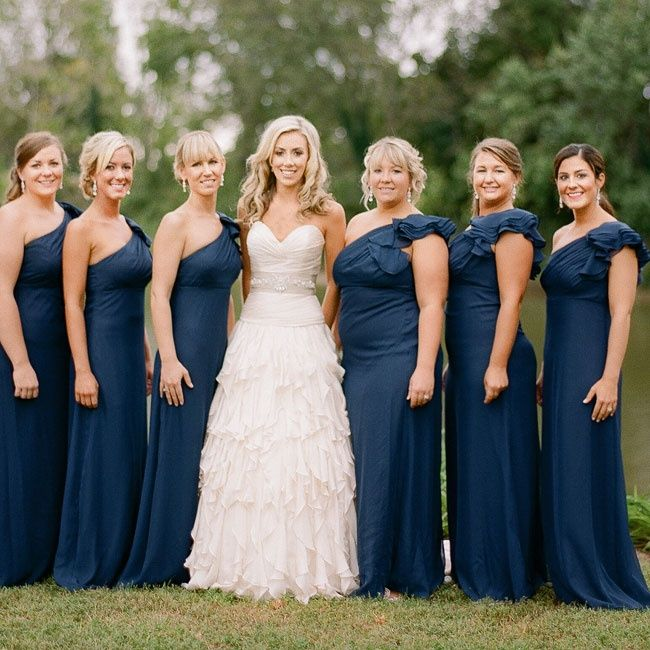 Long Navy Blue Bridesmaid Dresses