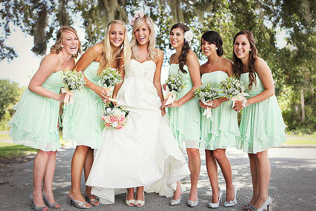 Light Mint Bridesmaid Dresses Weddings