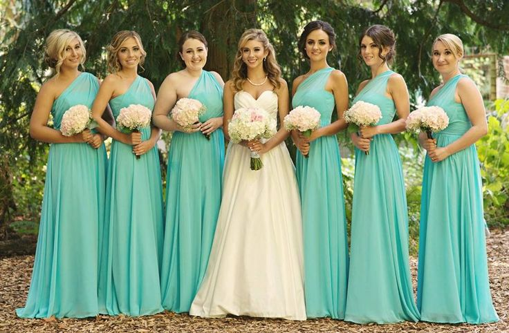 One Shoulder Mint Bridesmaid Dresses