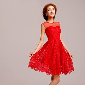 Short Lace Bridesmaid Dress