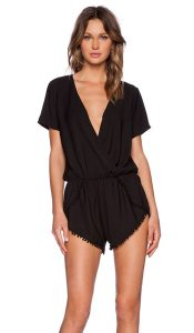 Black Short Sleeve Romper