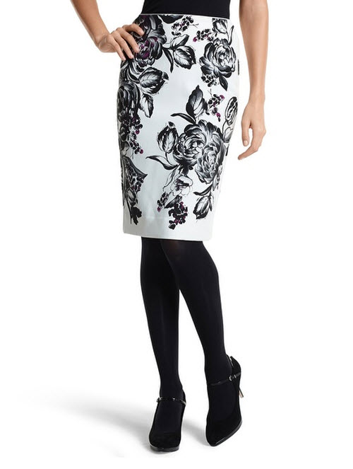 black and white pencil skirt dressed up