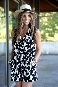 Black and White Floral Romper