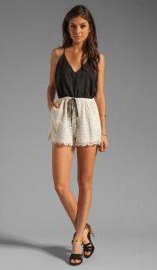Black and White Lace Romper