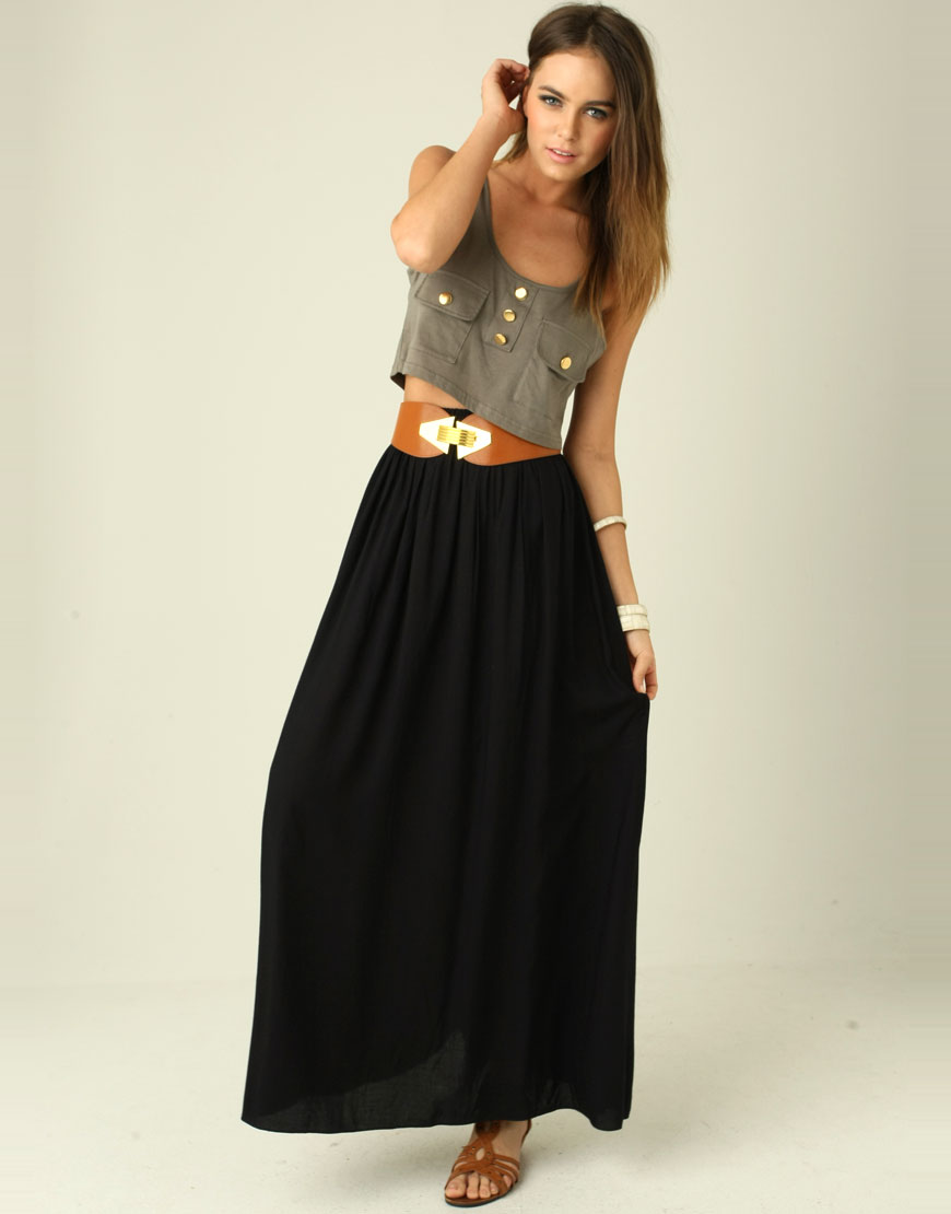 black maxi skirt dressed up