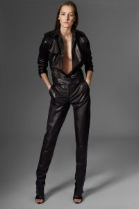 Womens Black Leather Jumpsuit