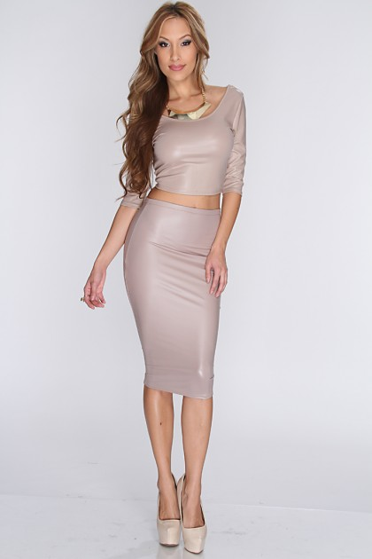 Beige Leather Skirt - Dress Ala