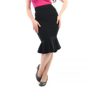 Black Fishtail Pencil Skirt