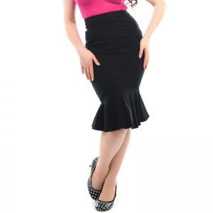 Black Fishtail Pencil Skirt