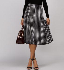 Black Gingham Skirt