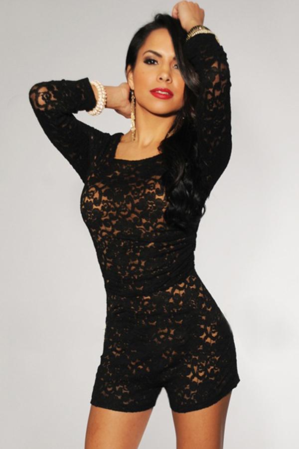 Black Lace Romper Dressedupgirl Com