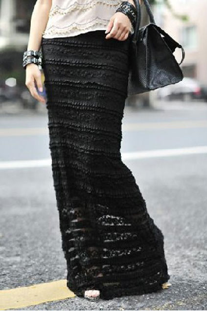 Long Lace Skirt Dressed Up Girl