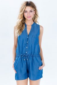 Chambray Romper Womens