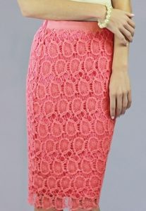 Coral Lace Skirt