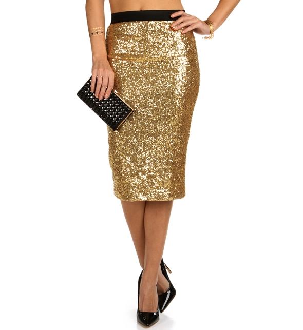 Gold Glitter Skirt - Skirts