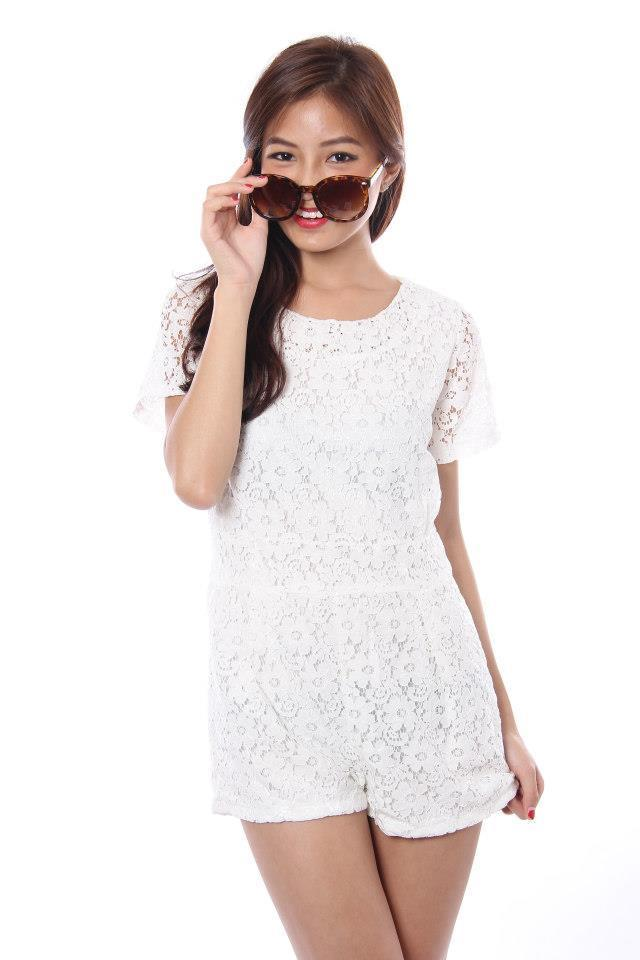 White Lace Romper Dressed Up Girl