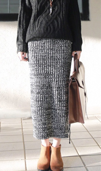 Long Knit Skirt - Dress Ala